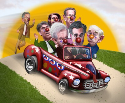 Conservative clown car, DonkeyHotey