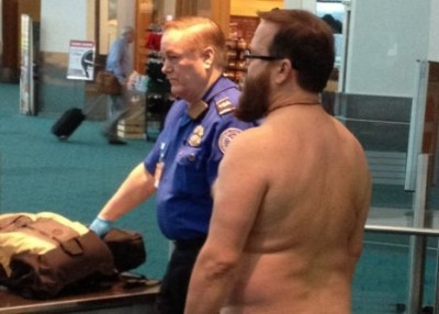 man naked at airport
