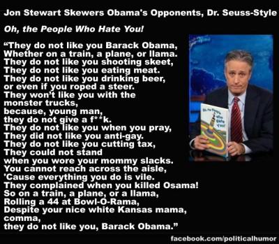 Jon Stewart Channels Dr Seuss, re Barack Obama