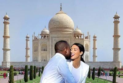 Kim Kardashian and Kanye West, Taj Mahal