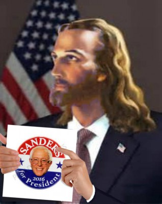 Jesus supporting Bernie Sanders