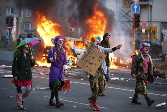 Image result for clowns rioting