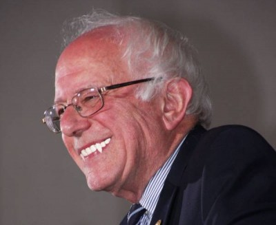 Bernie Sanders with fangs