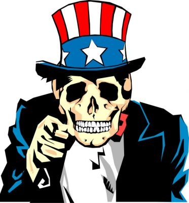 Uncle Sam america dying skull