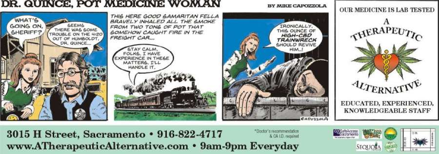 Cartoon Ad: Dr Quince, Pot Medicine Woman