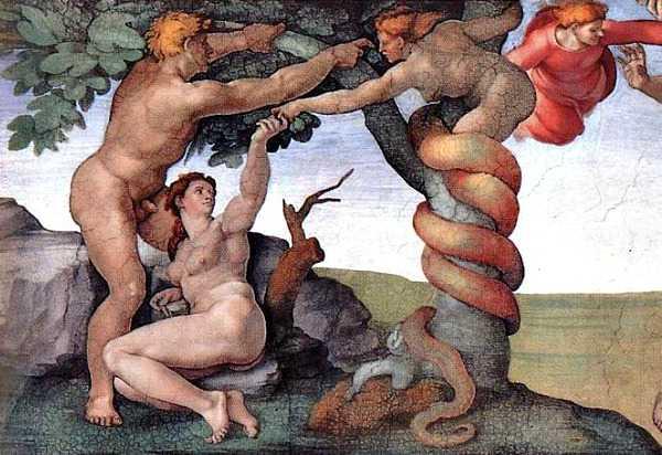 Garden of Eden Serpent Denies Tempting Adam and Eve, Thus Causing Fall of Man