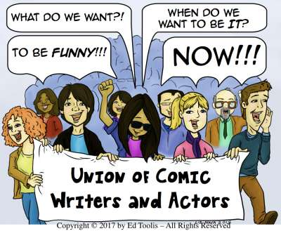 laughing stocks, Union of Comic Writers & Actors