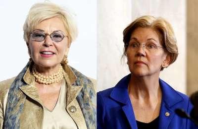 Comedian Roseanne Barr and Senator Elizabeth Warren.