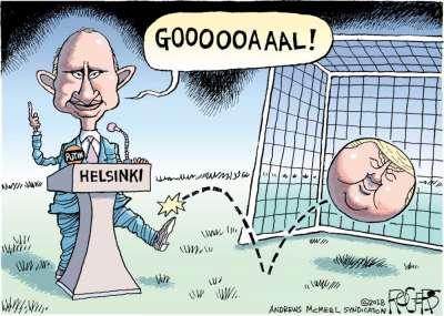 Trump's European Vacation, HT News in Cartoons app, Rob Rogers cartoon