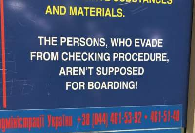 boarding sign at Dnipropetrovsk Int'l Airport in Ukraine