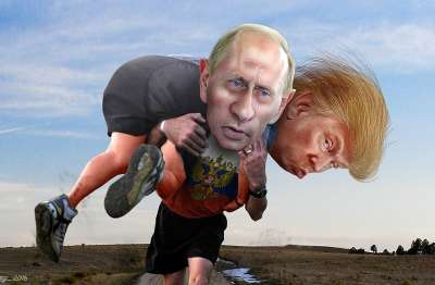 Vladimir Putin carrying Donald Trump, image by DonkeyHotey