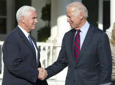 Vice President Joe Biden with Vice President-elect Mike Pence