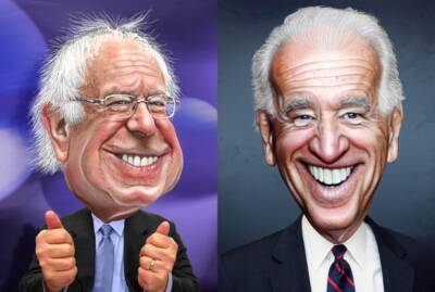 Bernie Sanders and Joe Biden, caricatures by DonkeyHotey