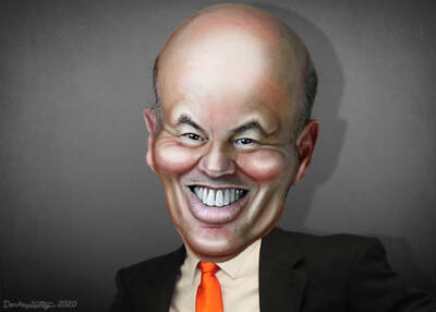 Louis DeJoy caricature by DonkeyHotey